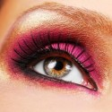 beautiful golden make up and pink eyeshadow  of eye