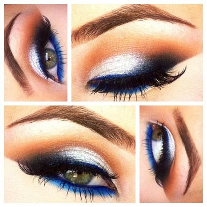 макияж с синими стрелками