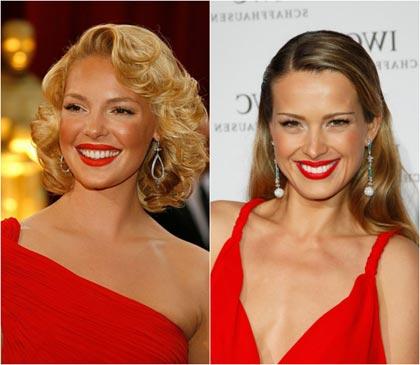 Красное платье блондинка какой макияж